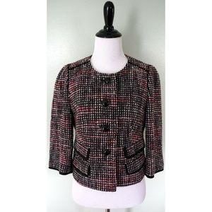 ANN TAYLOR LOFT Black White Pink Wool Blazer Coat